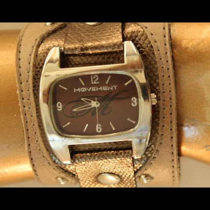 Gold Snake Skin and Tan Leather Watch