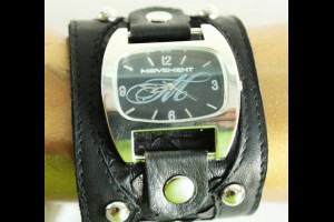 Black Leather / Black Snake Skin Print Watch